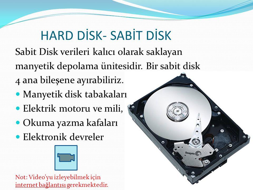 HARD DİSK- SABİT DİSK Sabit Disk verileri kalıcı olarak saklayan