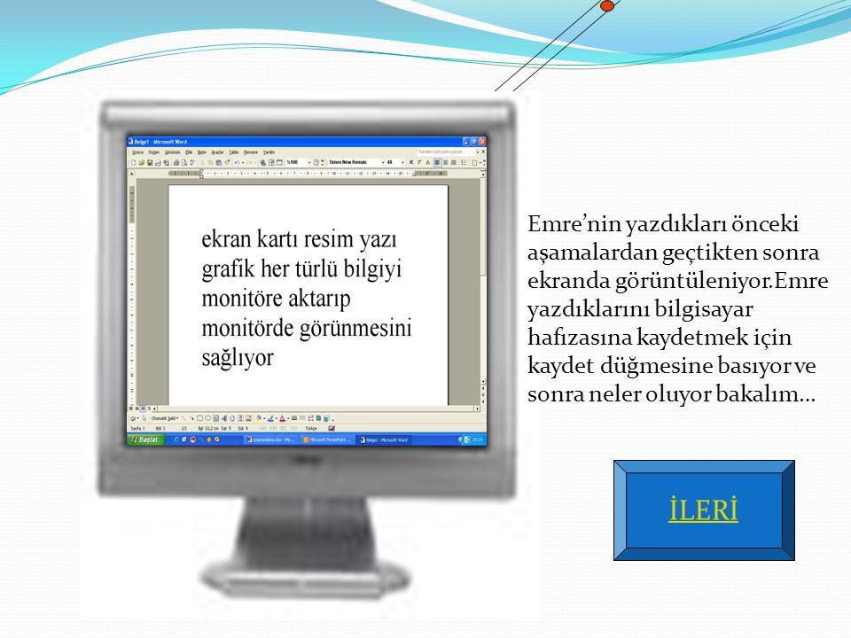 Emre'nin yazdıkları önceki aşamalardan geçtikten sonra ekranda görüntüleniyor.Emre yazdıklarını bilgisayar hafızasına kaydetmek için kaydet düğmesine basıyor ve sonra neler oluyor bakalım…