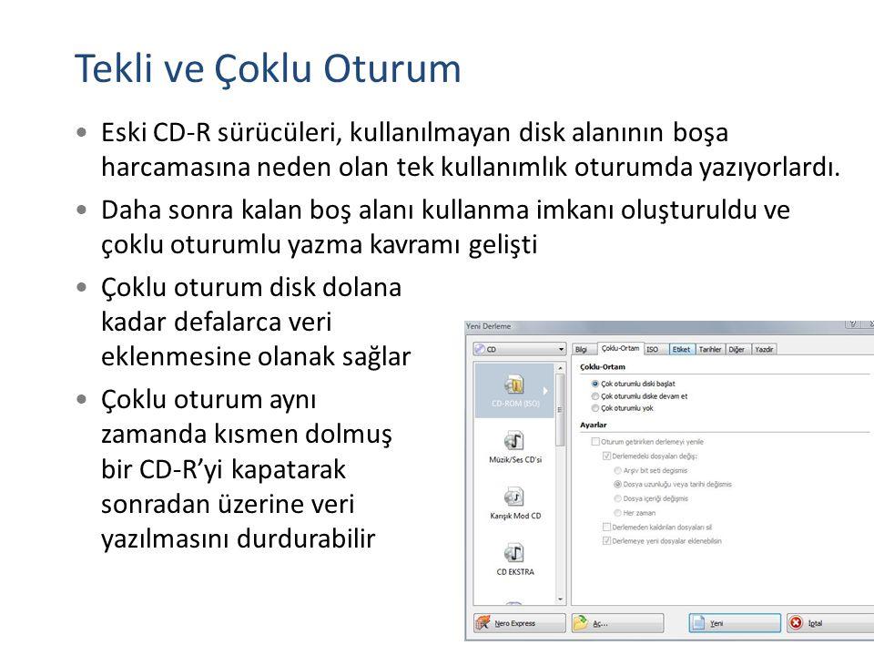 Tekli ve Çoklu Oturum Eski CD-R sürücüleri, kullanılmayan disk alanının boşa harcamasına neden olan tek kullanımlık oturumda yazıyorlardı.