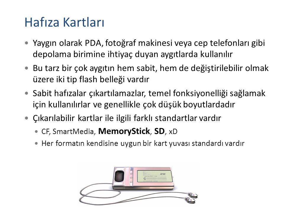 Hafıza Kartları Yaygın olarak PDA, fotoğraf makinesi veya cep telefonları gibi depolama birimine ihtiyaç duyan aygıtlarda kullanılır.