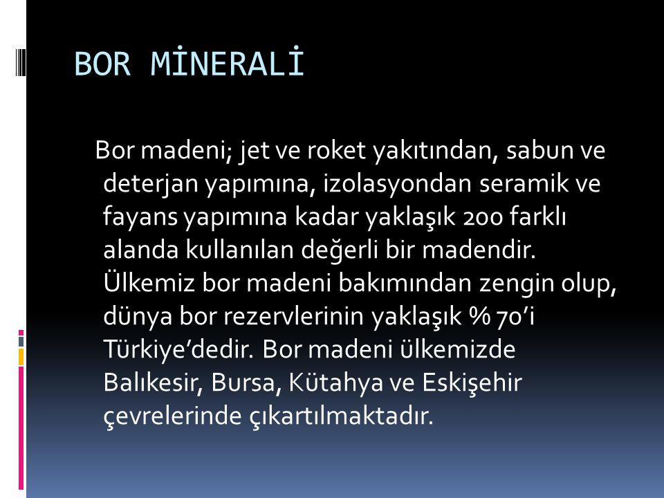BOR MİNERALİ