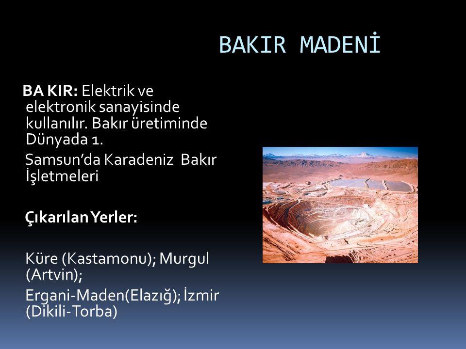 BAKIR MADENİ BA KIR: Elektrik ve elektronik sanayisinde kullanılır. Bakır üretiminde Dünyada 1. Samsun'da Karadeniz Bakır İşletmeleri.