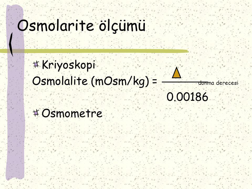 Osmolarite ölçümü Kriyoskopi Osmolalite (mOsm/kg) = donma derecesi