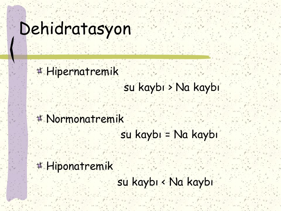 Dehidratasyon Hipernatremik su kaybı > Na kaybı Normonatremik