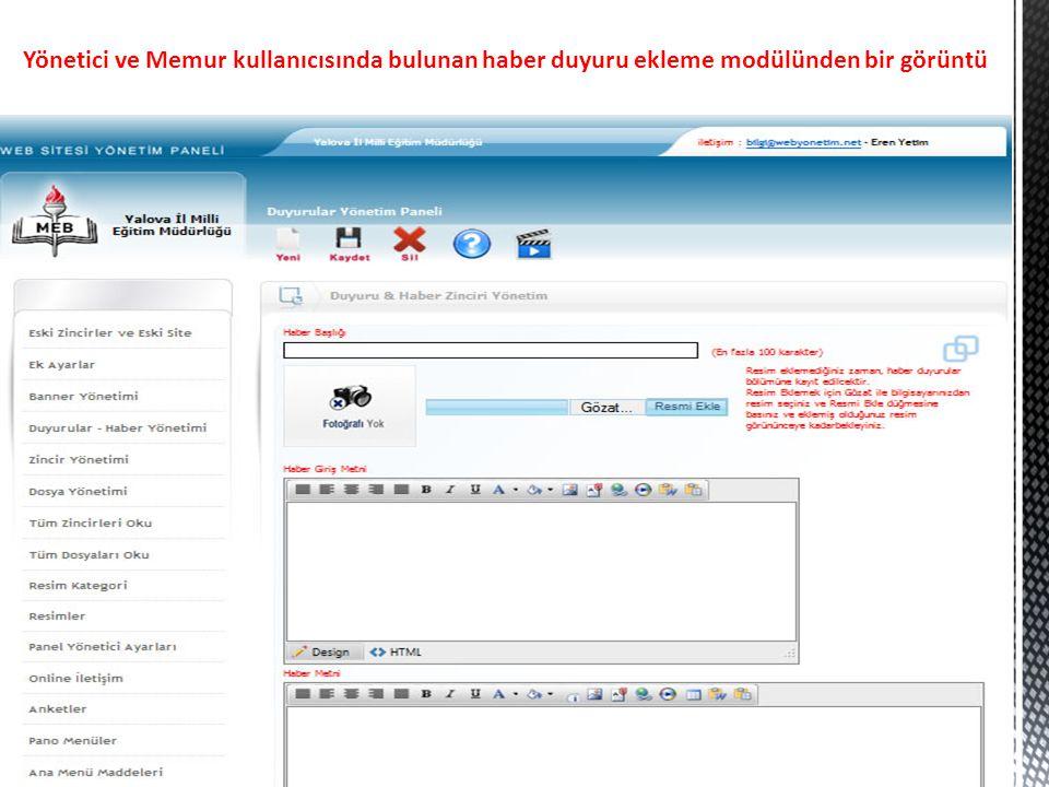 Yönetici ve Memur kullanıcısında bulunan haber duyuru ekleme modülünden bir görüntü