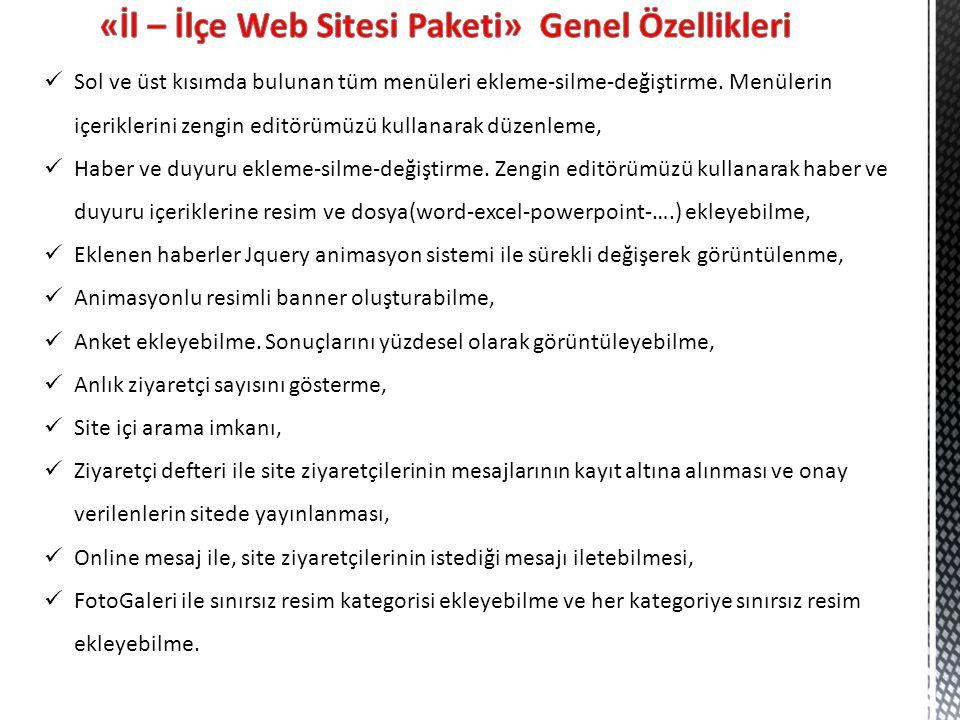 «İl – İlçe Web Sitesi Paketi» Genel Özellikleri