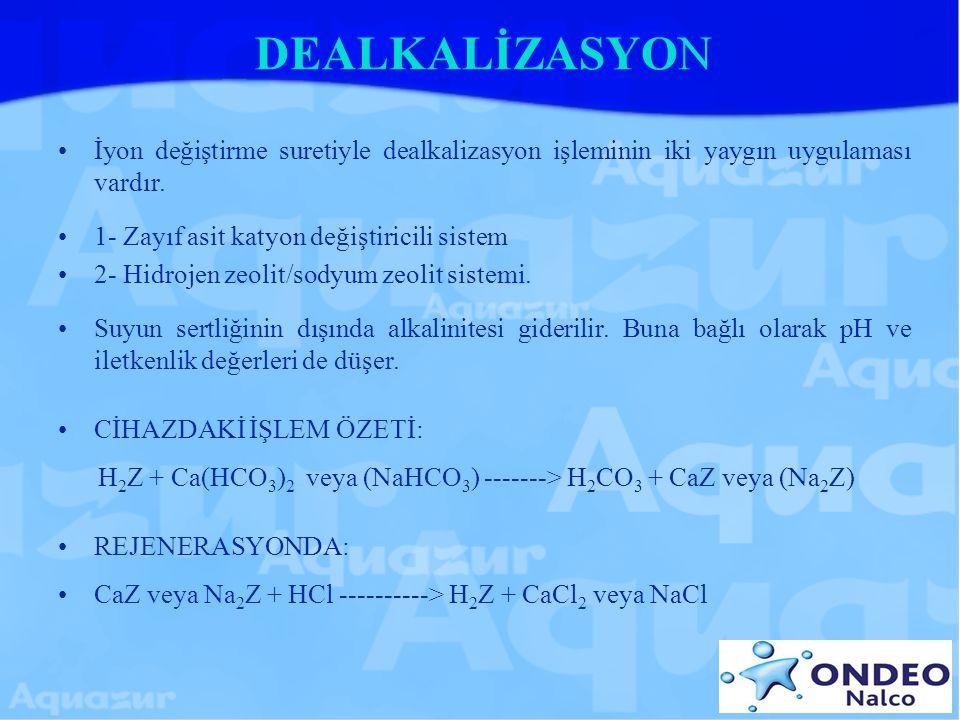 DEALKALİZASYON İyon değiştirme suretiyle dealkalizasyon işleminin iki yaygın uygulaması vardır. 1- Zayıf asit katyon değiştiricili sistem.