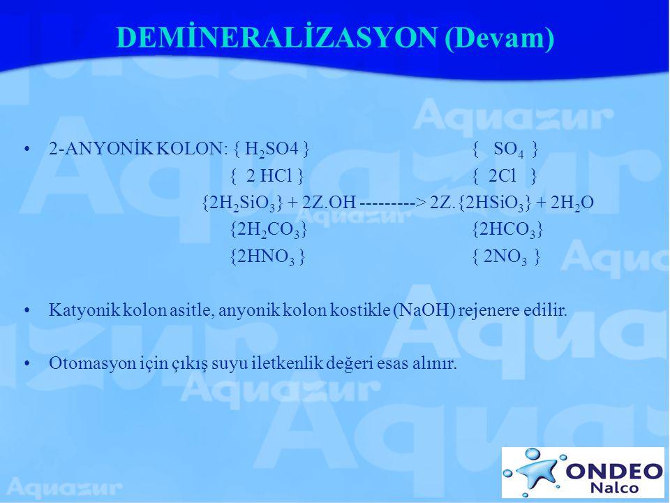 DEMİNERALİZASYON (Devam)