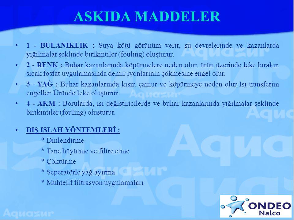 ASKIDA MADDELER 1 - BULANIKLIK : Suya kötü görünüm verir, su devrelerinde ve kazanlarda yığılmalar şeklinde birikintiler (fouling) oluşturur.