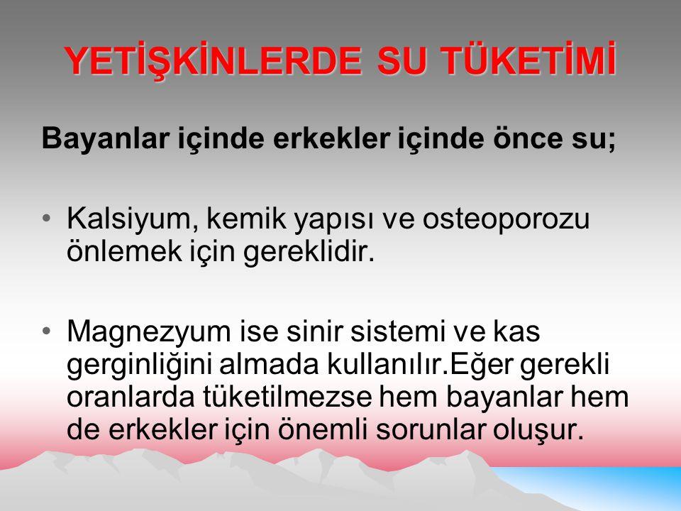 YETİŞKİNLERDE SU TÜKETİMİ
