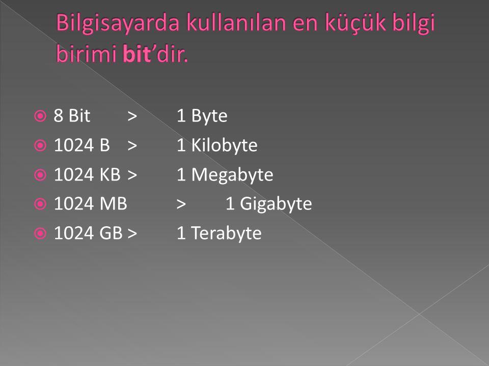 Bilgisayarda kullanılan en küçük bilgi birimi bit'dir.