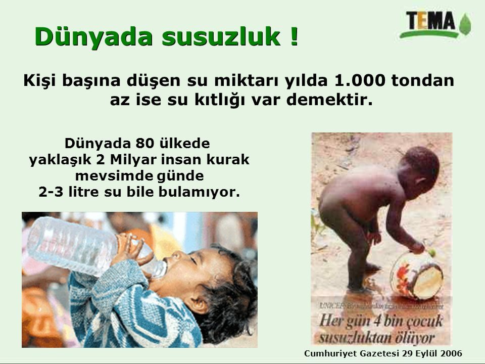 Dünyada susuzluk ! Kişi başına düşen su miktarı yılda 1.000 tondan