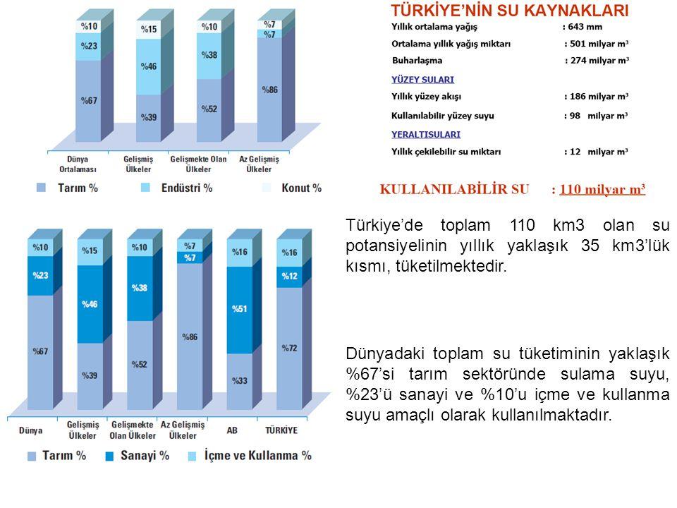 Türkiye'de toplam 110 km3 olan su potansiyelinin yıllık yaklaşık 35 km3'lük kısmı, tüketilmektedir.