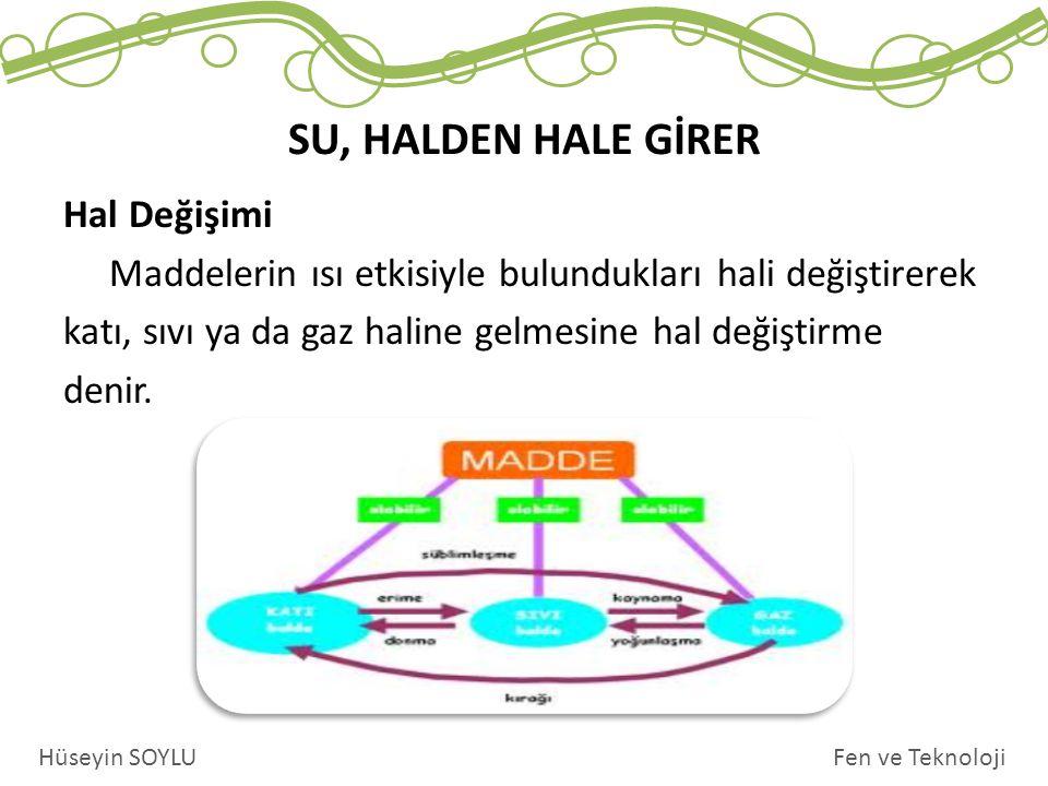 Hal Değişimi Maddelerin ısı etkisiyle bulundukları hali değiştirerek katı, sıvı ya da gaz haline gelmesine hal değiştirme denir.
