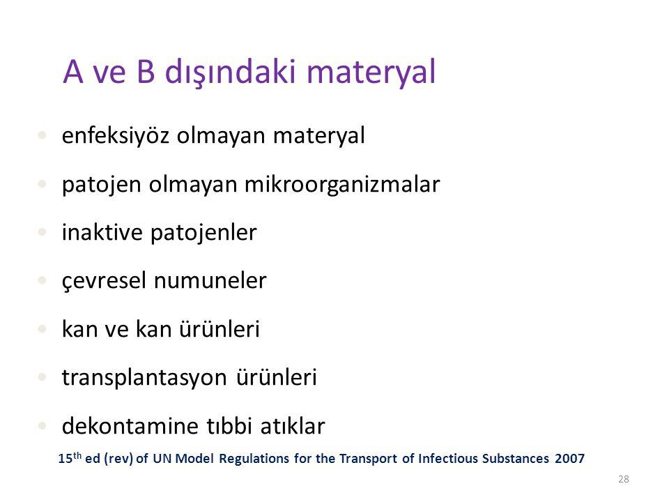A ve B dışındaki materyal