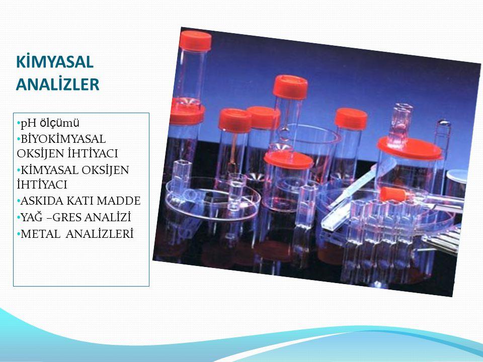 KİMYASAL ANALİZLER pH ölçümü BİYOKİMYASAL OKSİJEN İHTİYACI