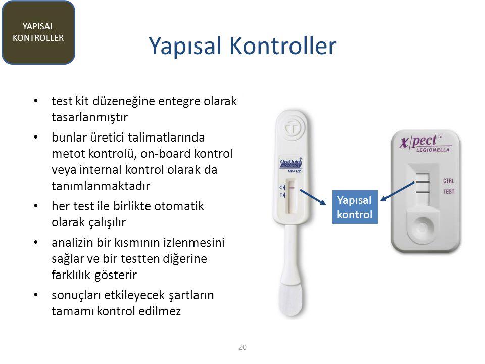 Yapısal Kontroller test kit düzeneğine entegre olarak tasarlanmıştır