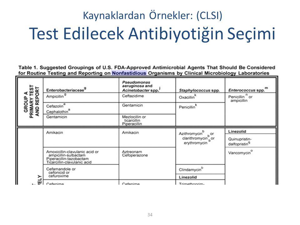 Kaynaklardan Örnekler: (CLSI) Test Edilecek Antibiyotiğin Seçimi