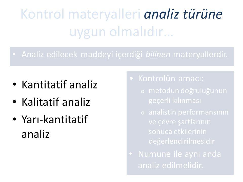 Kontrol materyalleri analiz türüne uygun olmalıdır…
