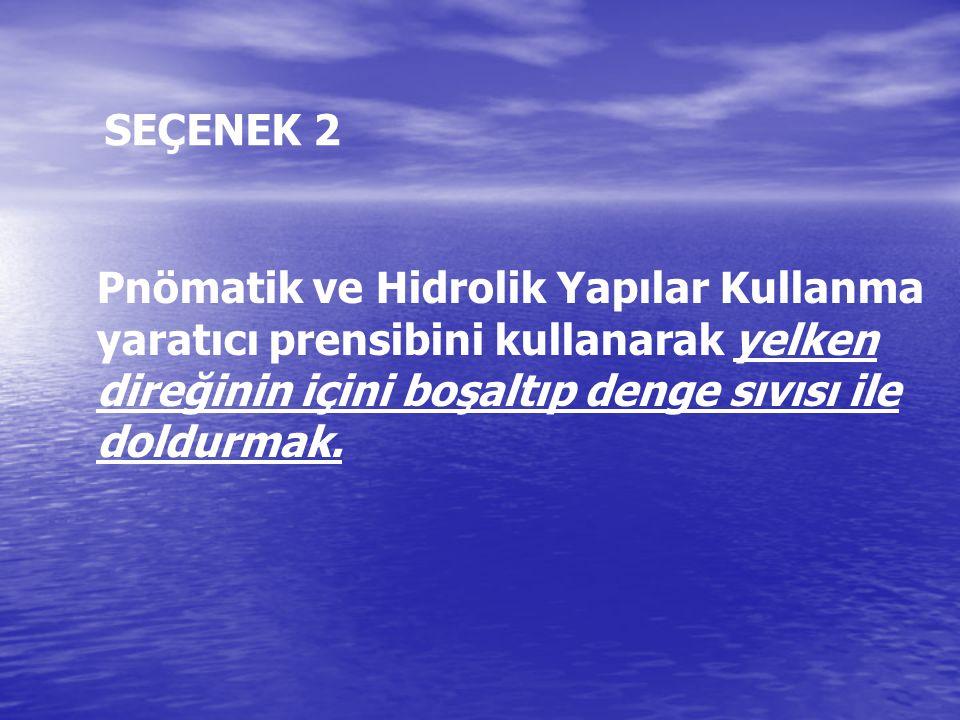 SEÇENEK 2 Pnömatik ve Hidrolik Yapılar Kullanma yaratıcı prensibini kullanarak yelken direğinin içini boşaltıp denge sıvısı ile doldurmak.