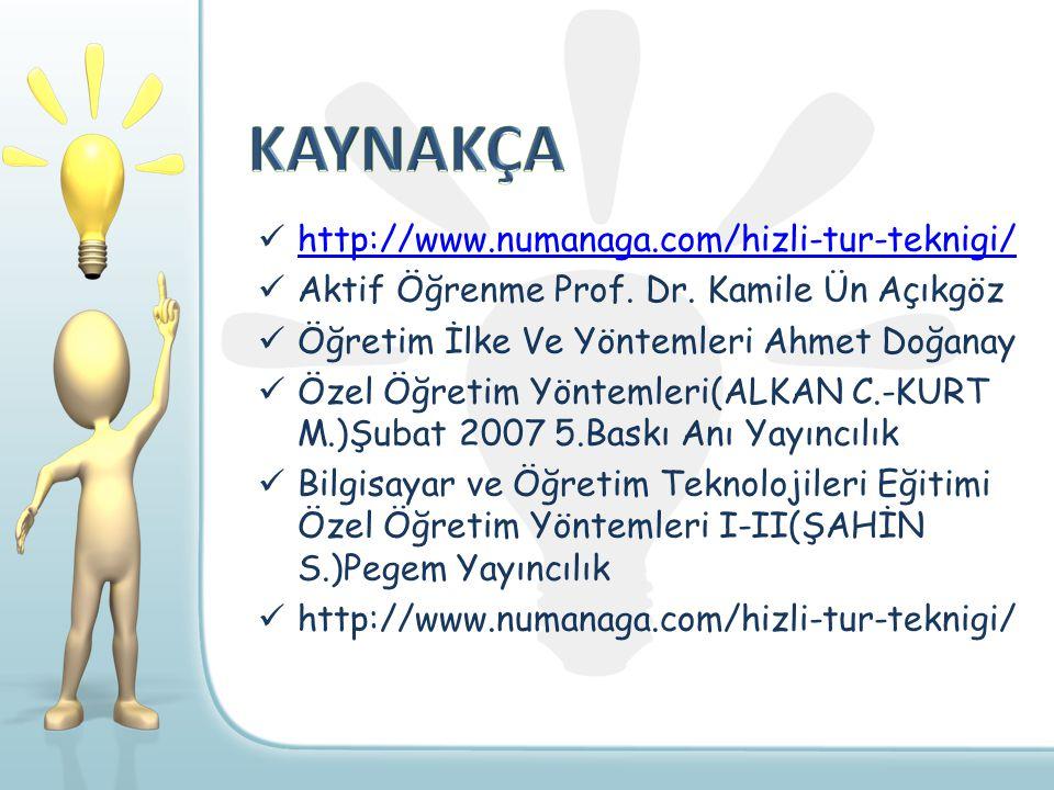 KAYNAKÇA http://www.numanaga.com/hizli-tur-teknigi/