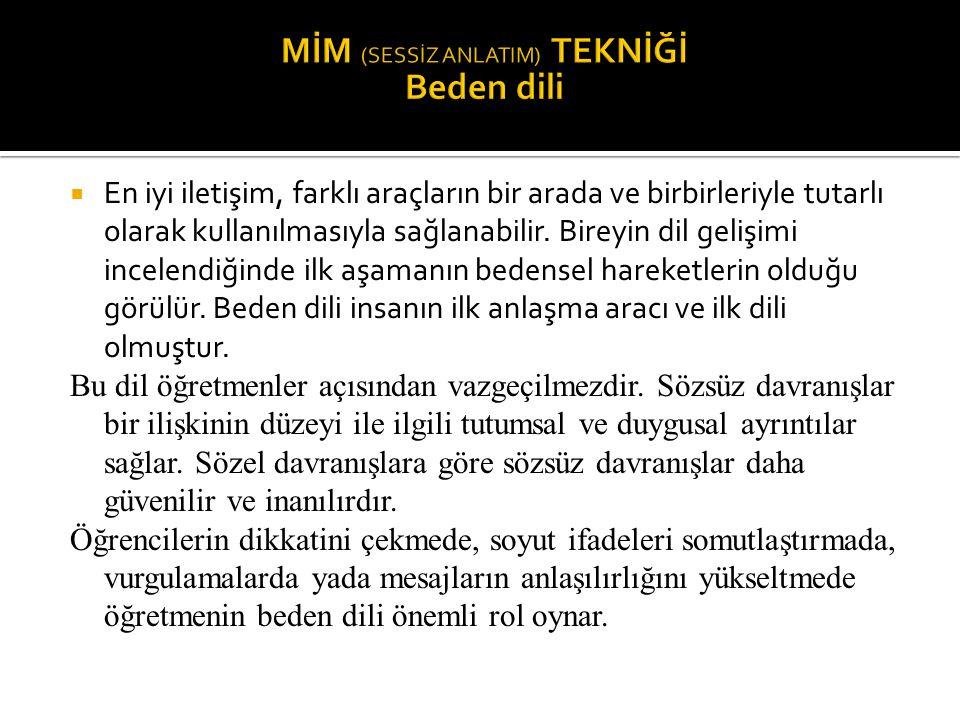 MİM (SESSİZ ANLATIM) TEKNİĞİ