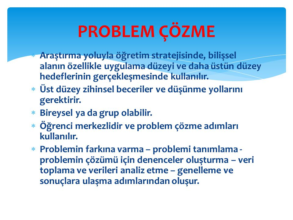 PROBLEM ÇÖZME
