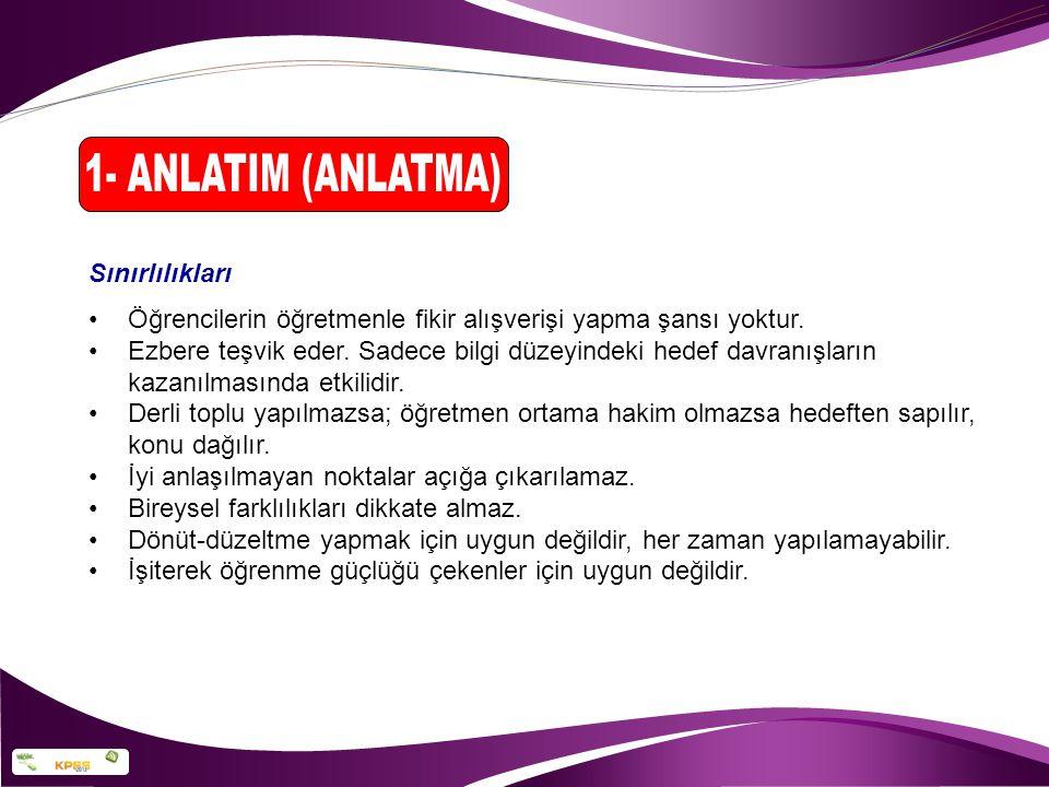 1- ANLATIM (ANLATMA) Sınırlılıkları