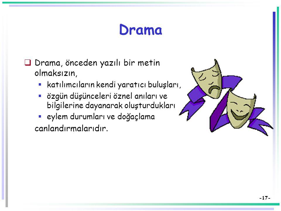 Drama Drama, önceden yazılı bir metin olmaksızın,