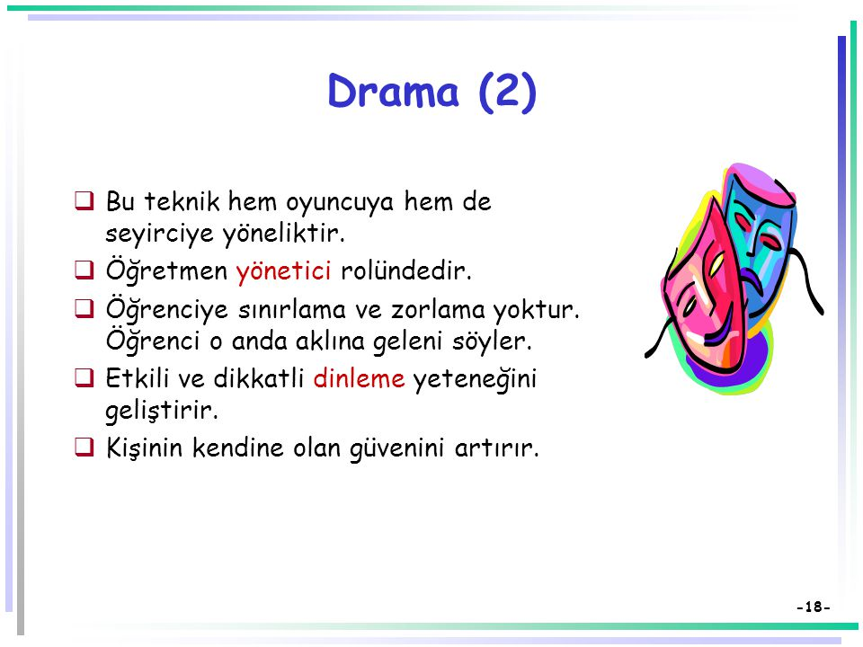 Drama (2) Bu teknik hem oyuncuya hem de seyirciye yöneliktir.