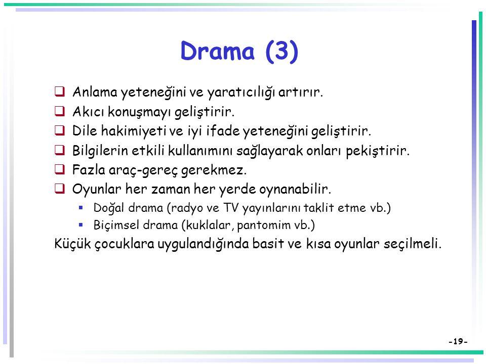 Drama (3) Anlama yeteneğini ve yaratıcılığı artırır.