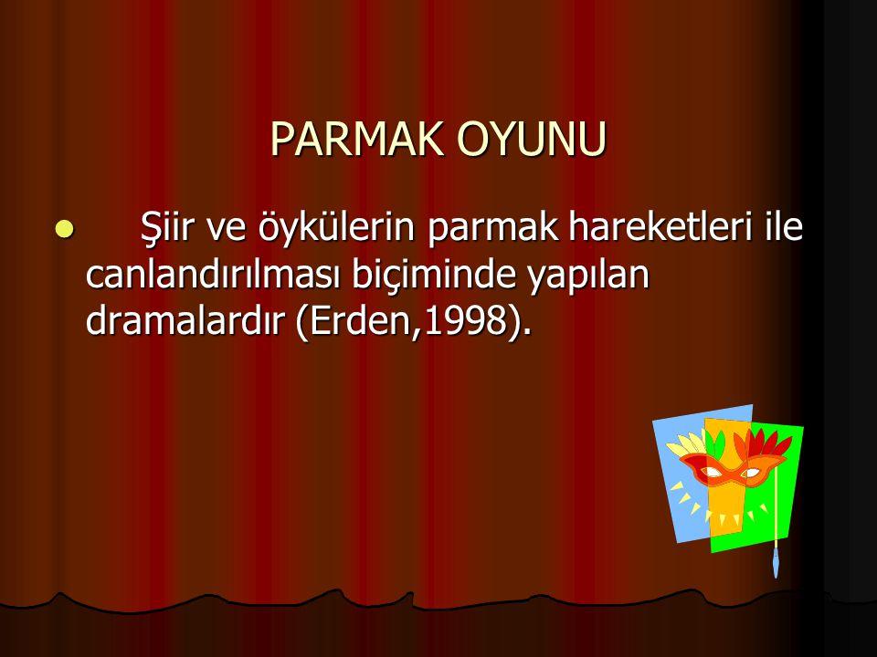 PARMAK OYUNU Şiir ve öykülerin parmak hareketleri ile canlandırılması biçiminde yapılan dramalardır (Erden,1998).