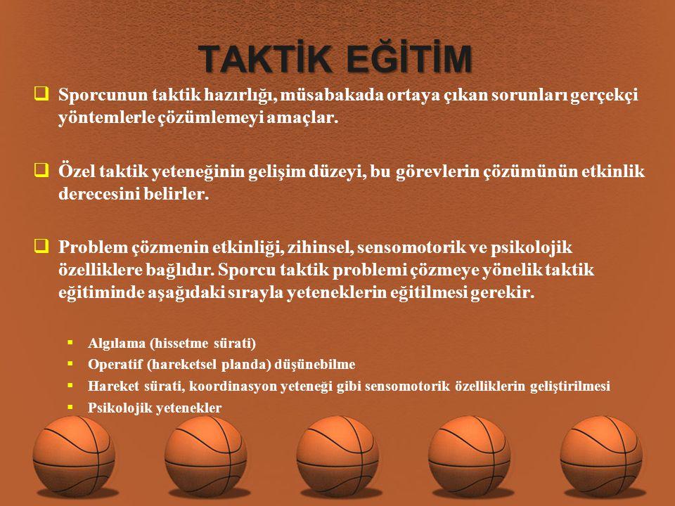 TAKTİK EĞİTİM Sporcunun taktik hazırlığı, müsabakada ortaya çıkan sorunları gerçekçi yöntemlerle çözümlemeyi amaçlar.