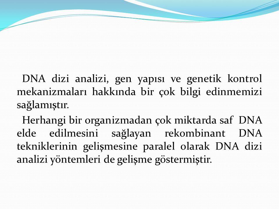 DNA dizi analizi, gen yapısı ve genetik kontrol mekanizmaları hakkında bir çok bilgi edinmemizi sağlamıştır.