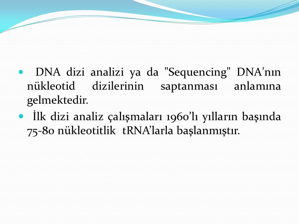 DNA dizi analizi ya da Sequencing DNA nın nükleotid dizilerinin saptanması anlamına gelmektedir.