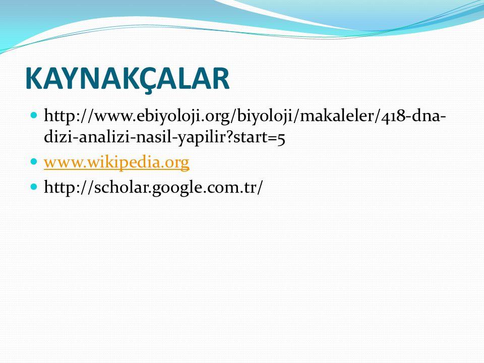 KAYNAKÇALAR http://www.ebiyoloji.org/biyoloji/makaleler/418-dna-dizi-analizi-nasil-yapilir start=5.