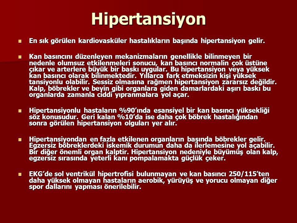 Hipertansiyon En sık görülen kardiovasküler hastalıkların başında hipertansiyon gelir.