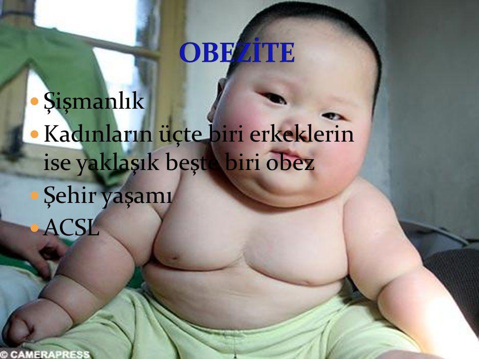 OBEZİTE Şişmanlık Kadınların üçte biri erkeklerin ise yaklaşık beşte biri obez Şehir yaşamı ACSL