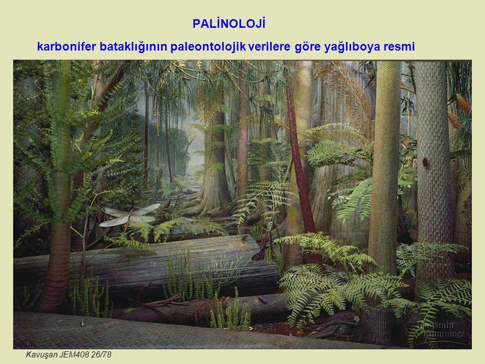 karbonifer bataklığının paleontolojik verilere göre yağlıboya resmi