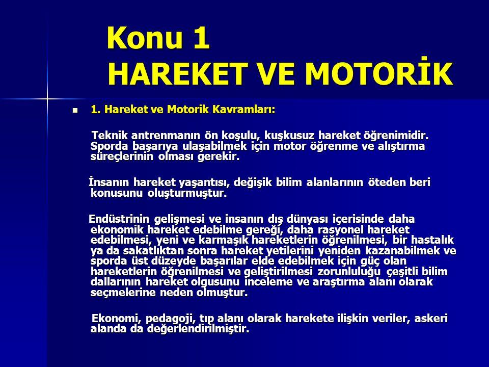Konu 1 HAREKET VE MOTORİK