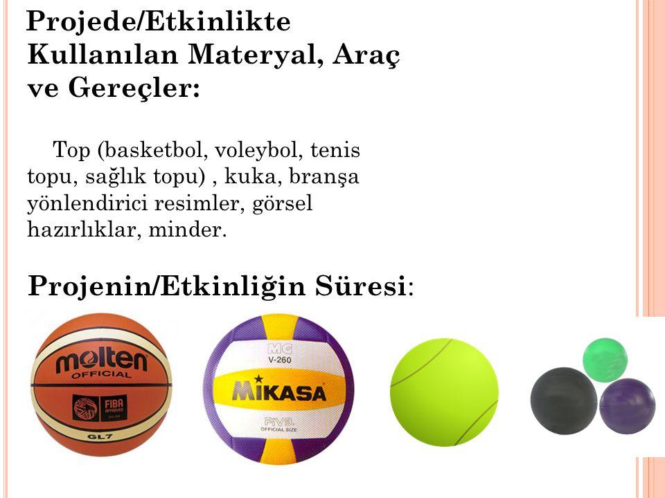 Projede/Etkinlikte Kullanılan Materyal, Araç ve Gereçler: Top (basketbol, voleybol, tenis topu, sağlık topu) , kuka, branşa yönlendirici resimler, görsel hazırlıklar, minder.