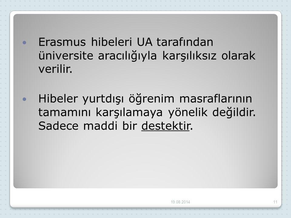 Erasmus hibeleri UA tarafından üniversite aracılığıyla karşılıksız olarak verilir.