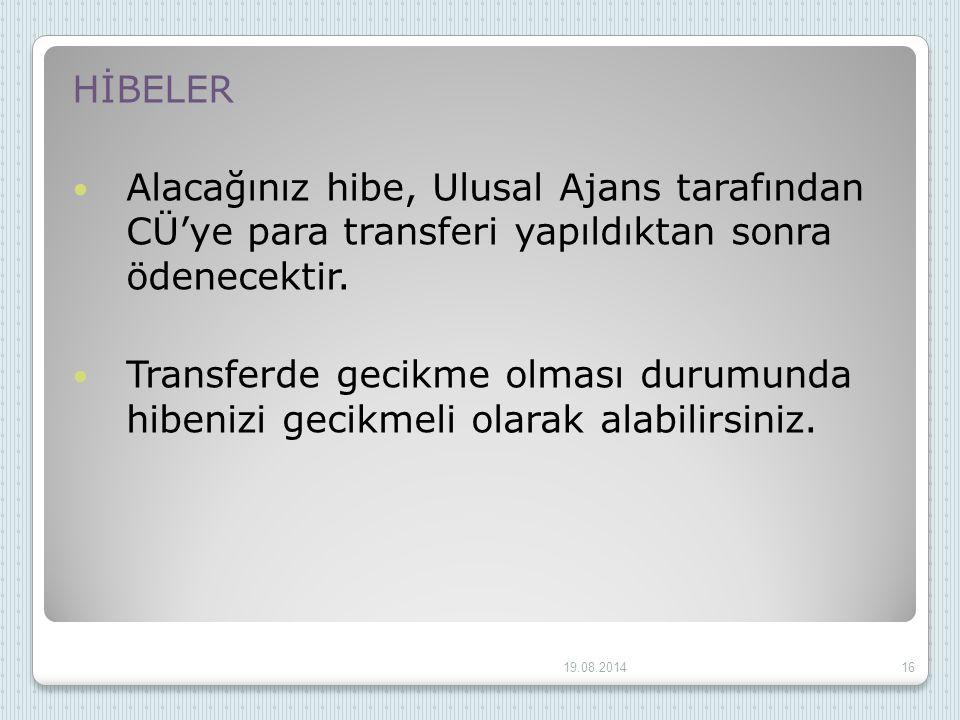 HİBELER Alacağınız hibe, Ulusal Ajans tarafından CÜ'ye para transferi yapıldıktan sonra ödenecektir.