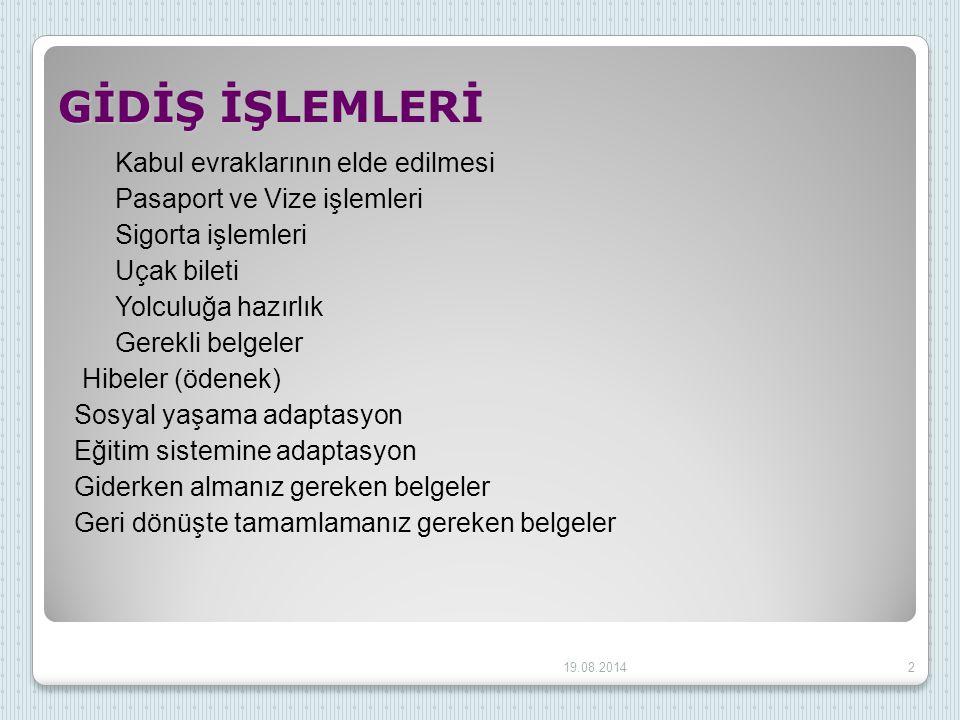 GİDİŞ İŞLEMLERİ