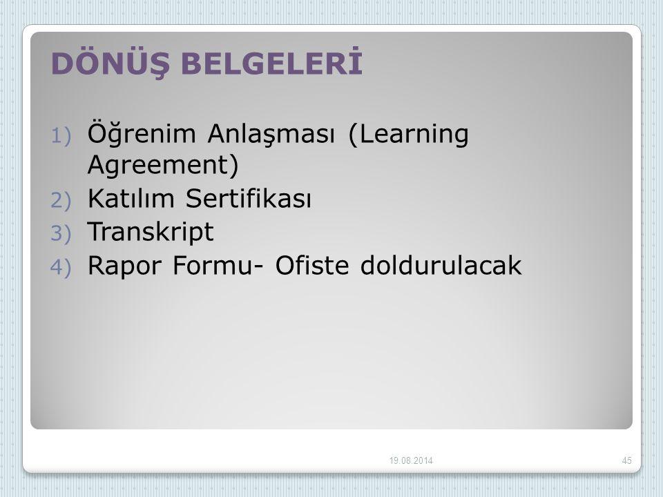 DÖNÜŞ BELGELERİ Öğrenim Anlaşması (Learning Agreement)