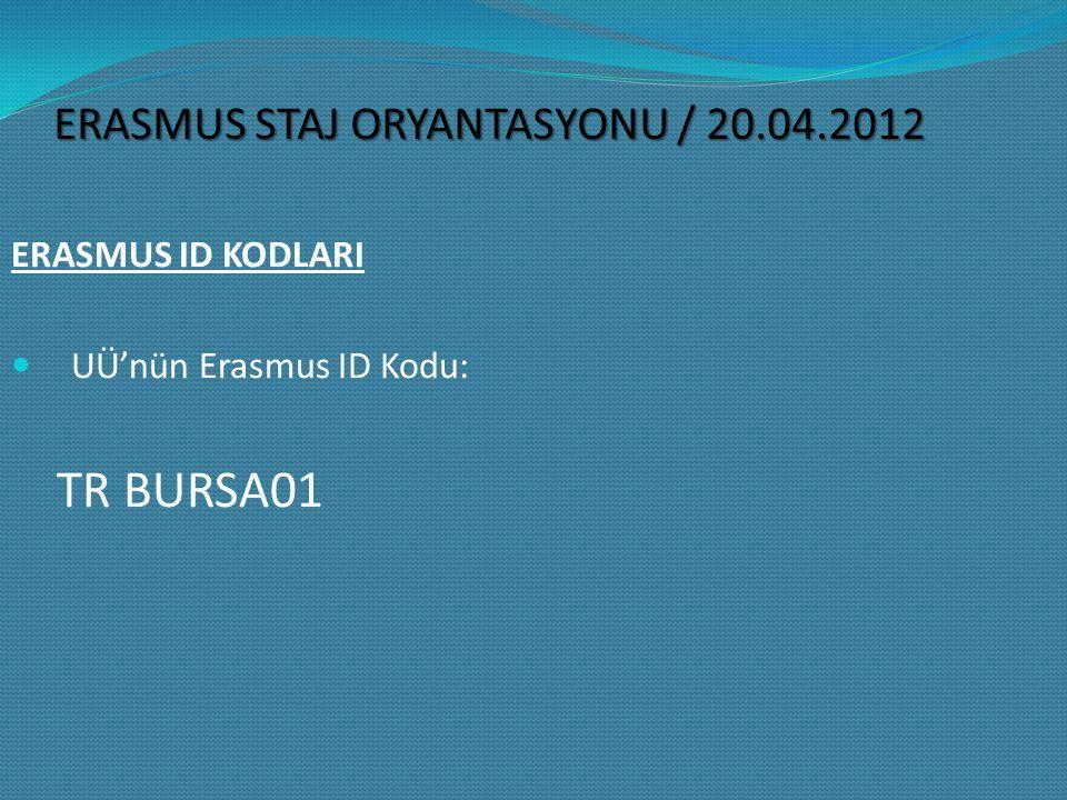 TR BURSA01 ERASMUS STAJ ORYANTASYONU / 20.04.2012 ERASMUS ID KODLARI