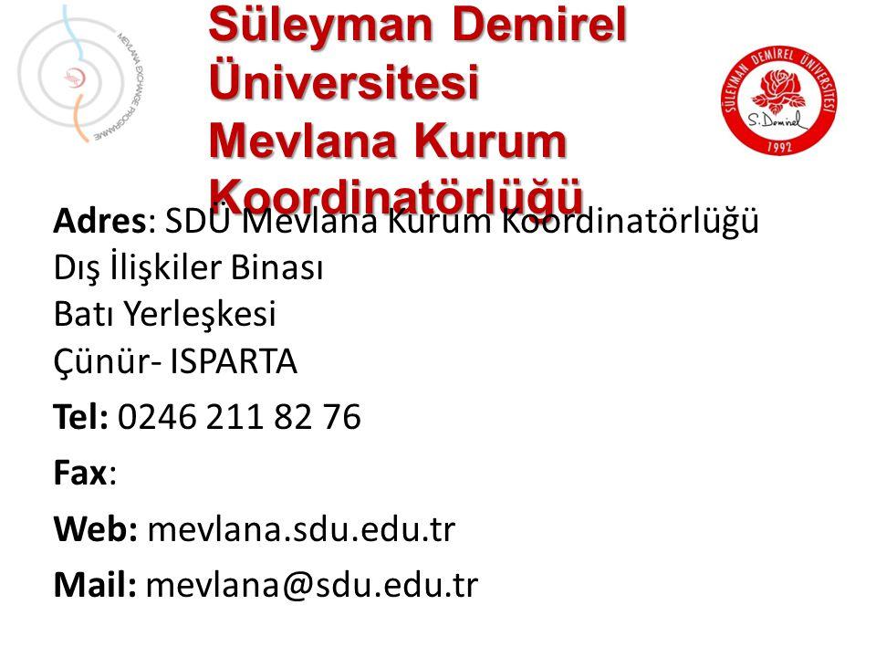 Süleyman Demirel Üniversitesi Mevlana Kurum Koordinatörlüğü