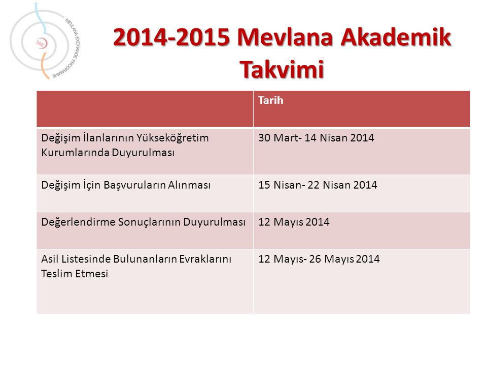 2014-2015 Mevlana Akademik Takvimi