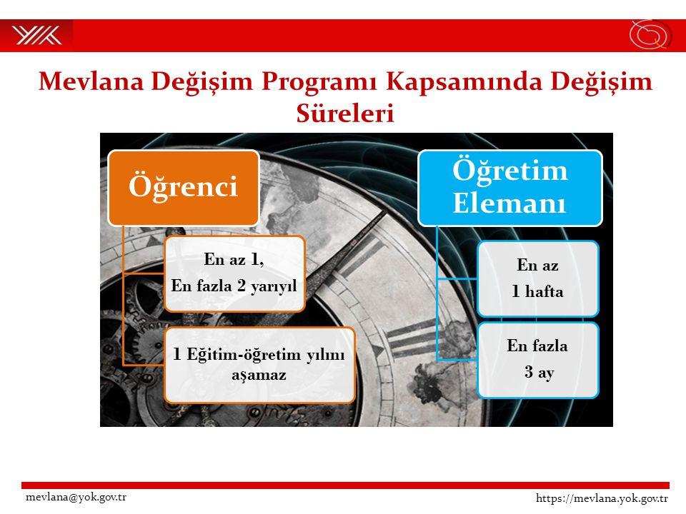 Mevlana Değişim Programı Kapsamında Değişim Süreleri