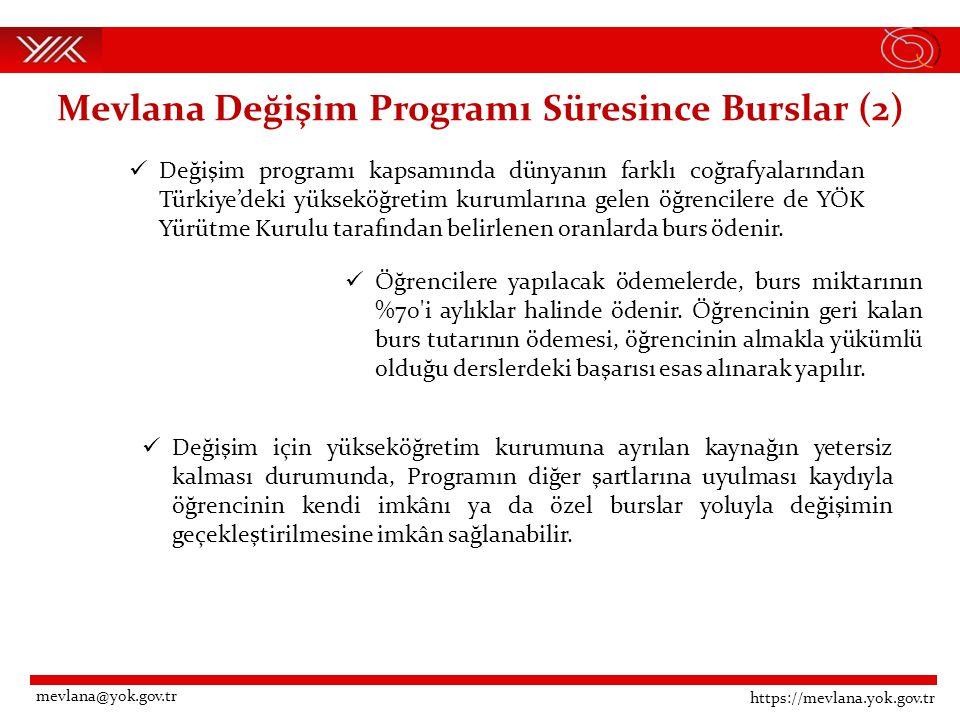 Mevlana Değişim Programı Süresince Burslar (2)